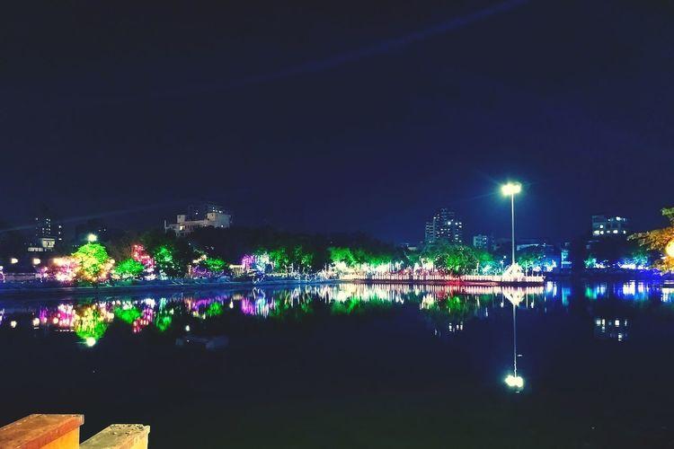 thane lake Illuminated Water Tree Reflection Sky