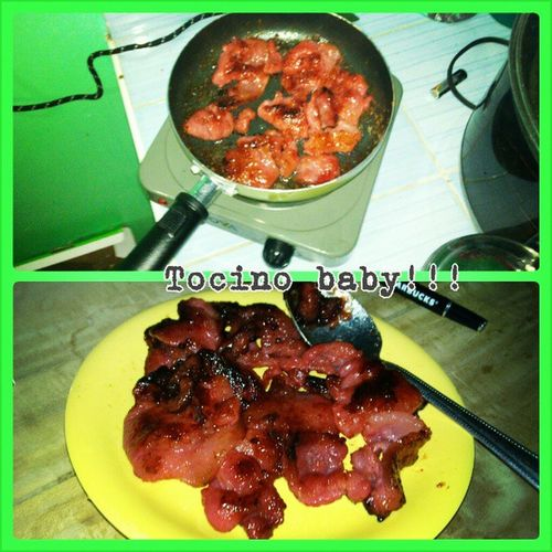 ikain nalang natin yan! lol Tocino for my dinner, mag-isa eh.. kain kain din everytime lol Tocino Foodporn Foodtrip Dinner alone