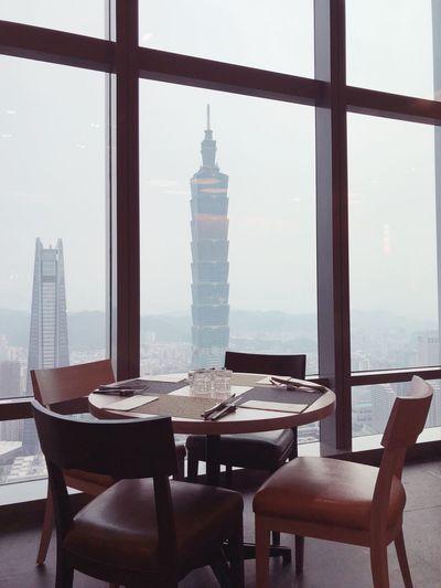 Taipei 101 seen through restaurant