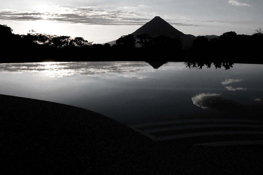 Costa Rica Beauty In Nature Cone Shape Cone Shaped Day Ecology Ecology Niche Lake Mountain Natural Formation Nature No People Outdoors Reflection Scenics Silhouette Sky Sunset Tranquil Scene Tranquility Tree Volcano Water