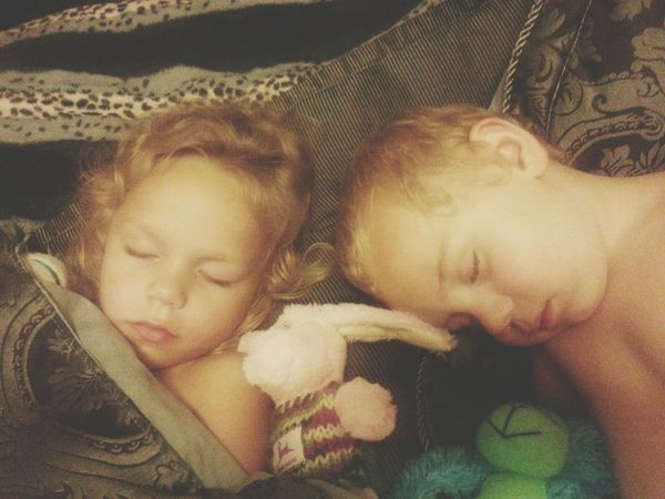Taking Photos while 2 of my children Sleep My World ♥ My Heart ♡