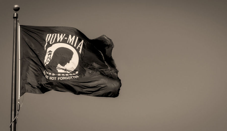 POW-MIA Flag No People Flag Low Angle View Sky Day Outdoors POW Flag Mia MIA Flag Blackandwhite