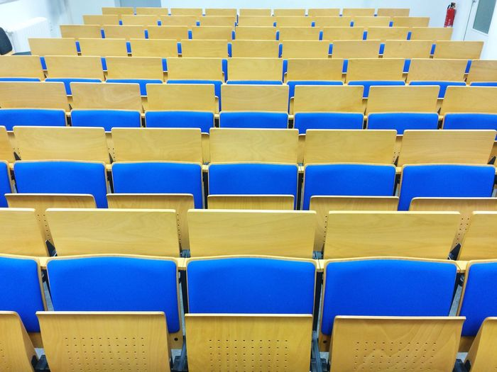 Empty seats in classroom