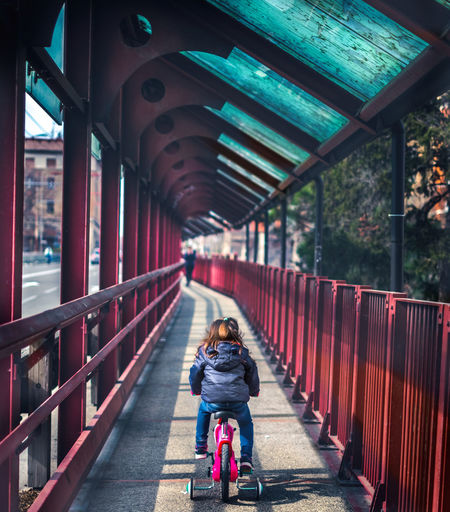 Rear view of woman riding bicycle on bridge