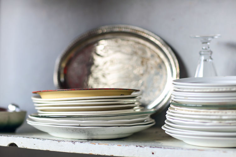 Plates Crockery Dinner Plates Glass Helen Martins Indoors  Kitchen Kitchen Cupboard Mixed Plates No People Owl House Plates Silver  South Africa Stack