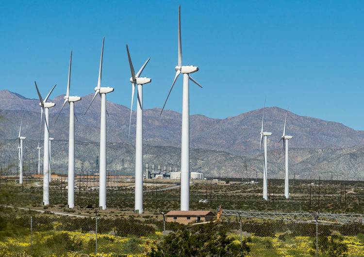Wind turbines, Palm Springs Beauty In Nature Renewable Energy Fuel And Power Generation Wind Turbine Alternative Energy Environment Wind Power Environmental Conservation Turbine Sky Mountain Nature Landscape No People Mountain Range Technology Electricity  Sustainable Resources Power Supply California