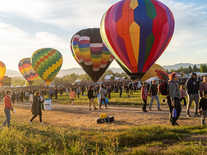 Group of people in hot air balloon
