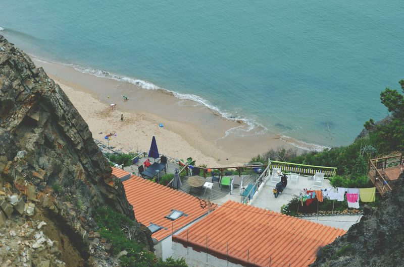 High angle view of buildings on beach