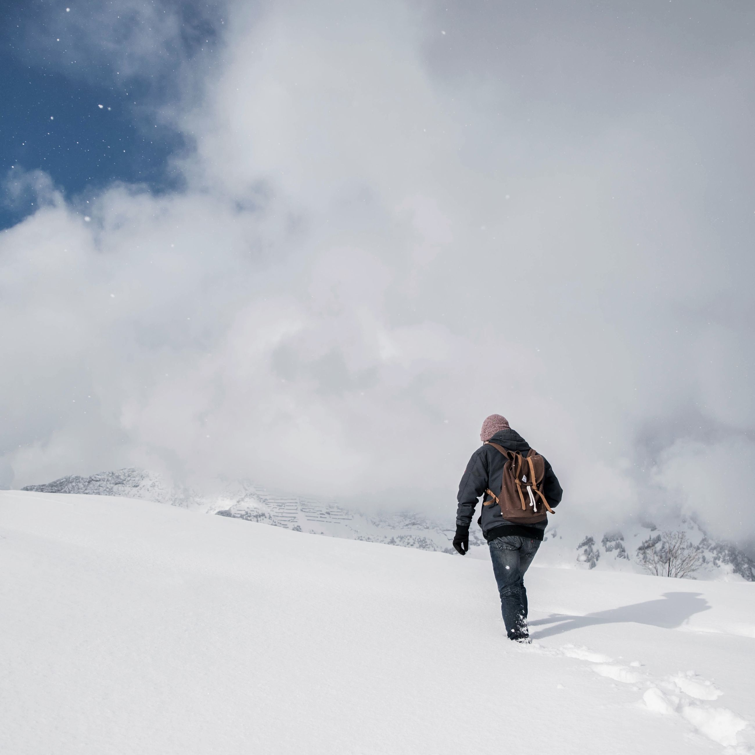 snow, winter, cold temperature, season, leisure activity, lifestyles, weather, full length, rear view, mountain, warm clothing, walking, men, landscape, sky, tranquil scene, covering, tranquility