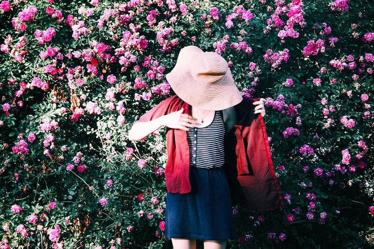 Almost ready The Fashion Photographer - 2018 EyeEm Awards Clothing Hat One Person Standing Real People Obscured Face Casual Clothing Women Lifestyles Plant