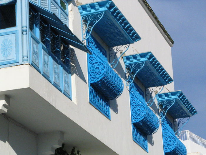 Blue balconies - Sidi Bou Said, Tunisia Architecture Balcony Shot Blue Building Exterior Built Structure Close-up Day Low Angle View Modern No People Outdoors Sidi Bou Said Tunisian
