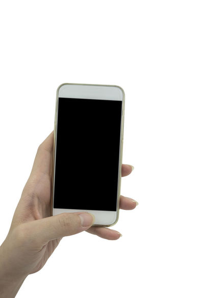 Hand holding smart phone isolated over white background 4g 5G Mobile Phone Blank Blank Screen Connection Device Screen Holding Human Body Part Human Hand IPhone Internet Mobilephone Mock Up Mockup Phone Smart Phone Smartphone Studio Shot Technology Touch Screen White White Background Wifi Wireless Technology
