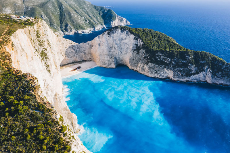 Aerial view of beautiful navagio or shipwreck beach on zakynthos island, greece.