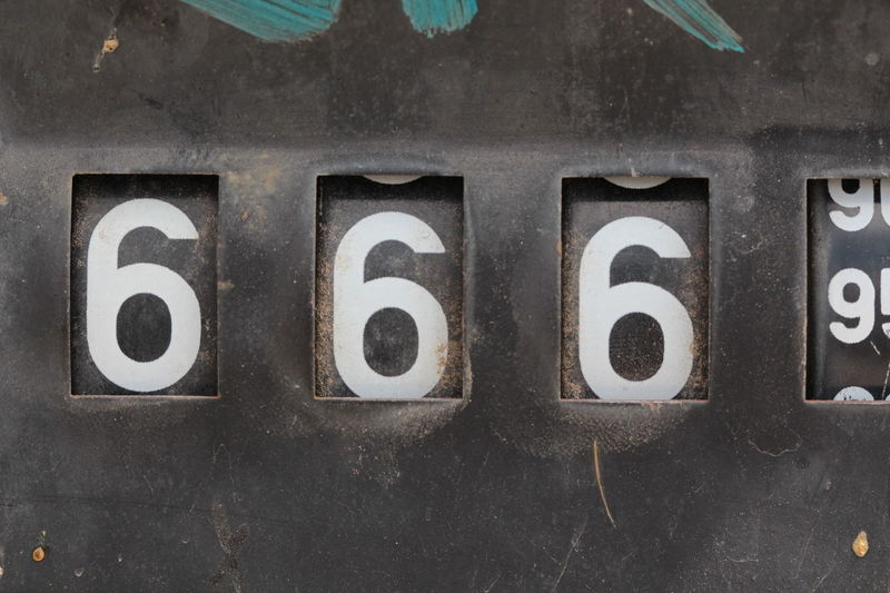 numbers 1 2 3 43 Golden Moments 5 50 6 666 69👌 7 8 Counter Fuel Pump Numbers Old One Person Seven Six Three Two Vintage