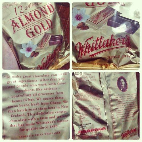 So sweet...pasalubong appreciated much :3 ??? Tsokolat Whittaker 's AlmondGold Since1896 NewZealand