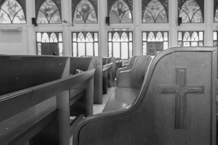 Close-Up Of Pews In Church