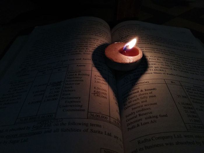 Close-up of lit candles on book