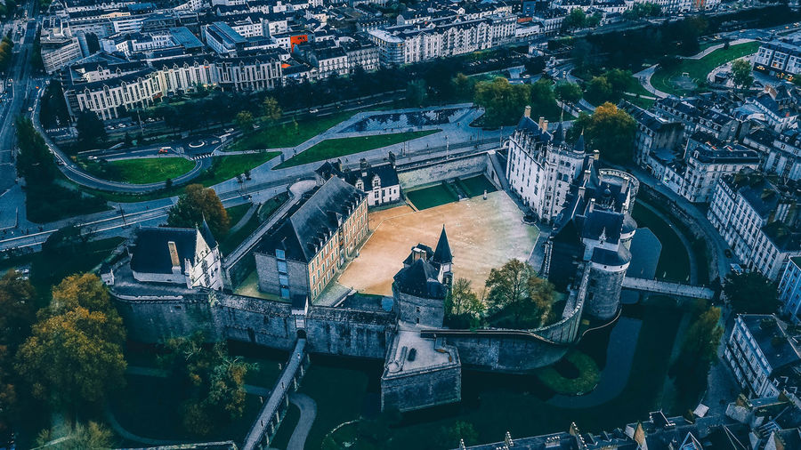 High angle view of nantes castle