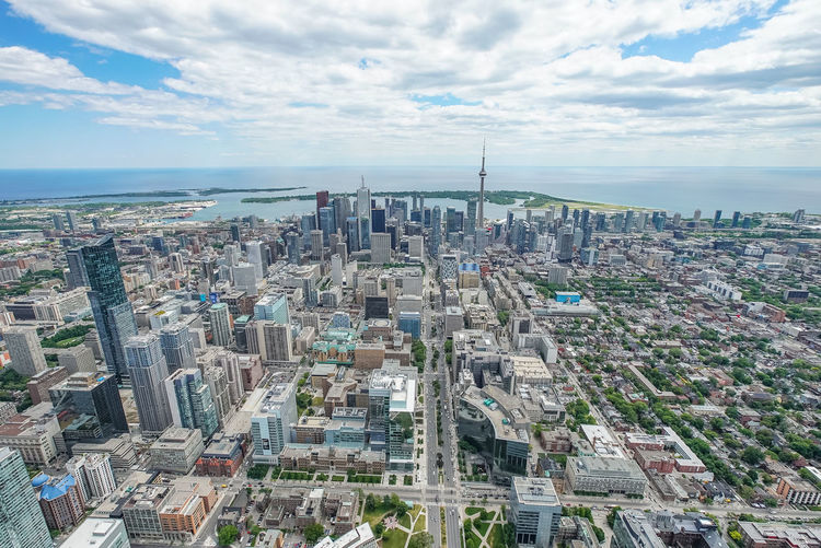 Aerial shot of Toronto taken from a helicopter above Spadina Avenue. Avenue Canadian Ontario Photrography Aerial Building Canada Clouds Lake Spadina  University