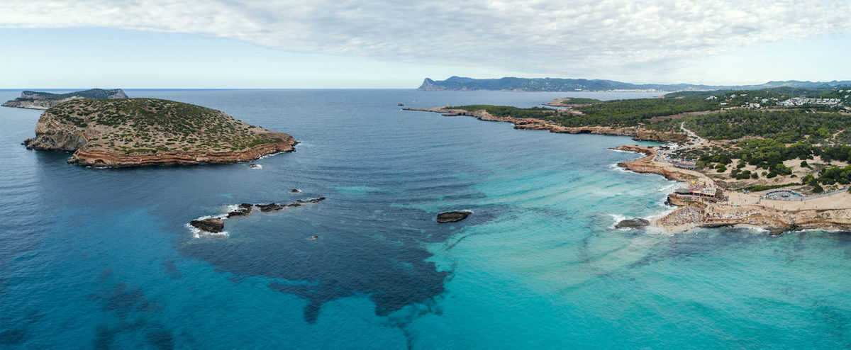 Cala Conta Drone  Ibiza Nature Panorama Panoramic SPAIN Travel Aerial Aero Beach Blue Horizon Over Water Landscape Mountain Nature Outdoors Sea Sea And Sky Sky Summer Travel Destinations Water