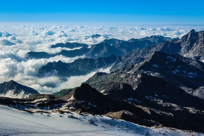 Alps Italy Mountaineering Above Clouds Alps Beauty In Nature Cloud - Sky Cold Temperature Day Environment Idyllic Landscape Mountain Mountain Peak Mountain Range Nature No People Non-urban Scene Outdoors Scenics - Nature Sky Snow Snowcapped Mountain Tranquil Scene Tranquility Winter