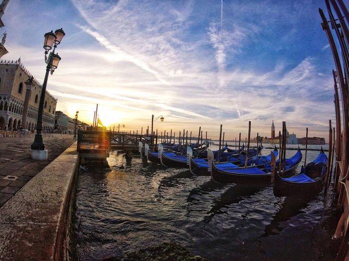 Venice Sunrise Venice Sunset Gondola - Traditional Boat Nautical Vessel Transportation Sky Moored Travel Destinations Water Architecture