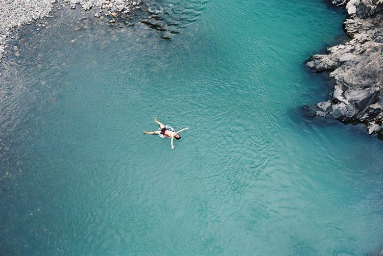 Japan Wakayama Adventure Beauty In Nature Day Floating High Angle View Leisure Activity Motion Nature One Person Outdoors River Swimming Turquoise Colored Water Waterfront