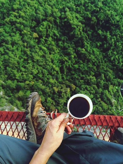 kanchanaburi , thailand, big wall rock trip, hyperventure, adventure, cliff, coffee, morning One Person Real People Human Body Part Human Hand Food And Drink Lifestyles Cup Green Color Coffee Tree Refreshment Leisure Activity Drink