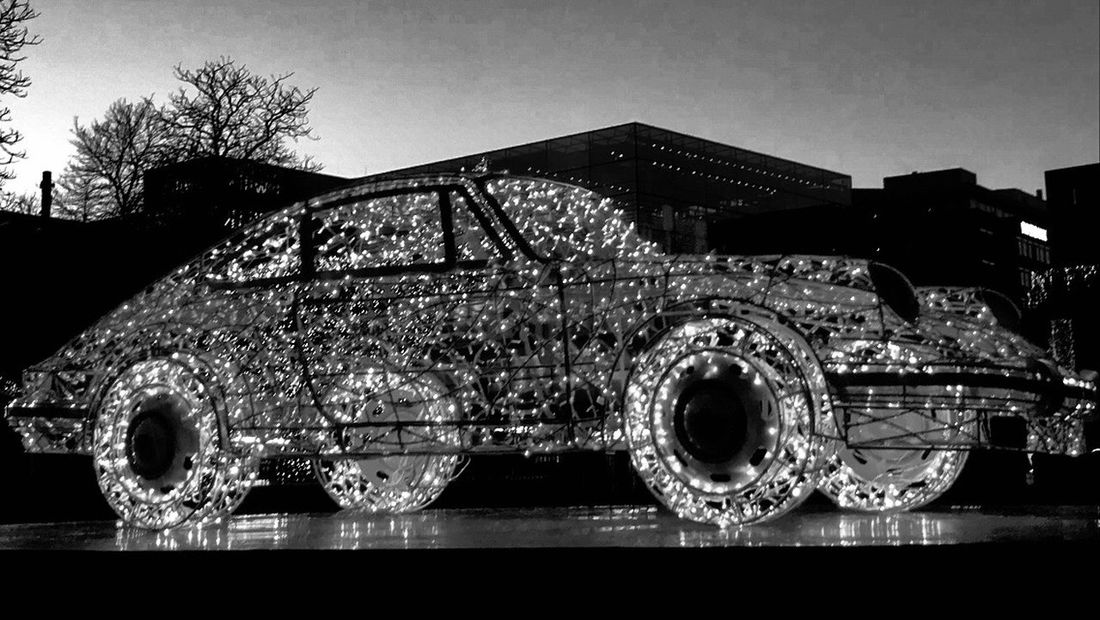Black And White Blackandwhite Sky No People Architecture Built Structure Nature Metal Low Angle View Decoration Illuminated Land Vehicle Transportation Outdoors Building Building Exterior Clear Sky Mode Of Transportation Pattern Motor Vehicle Day Shape