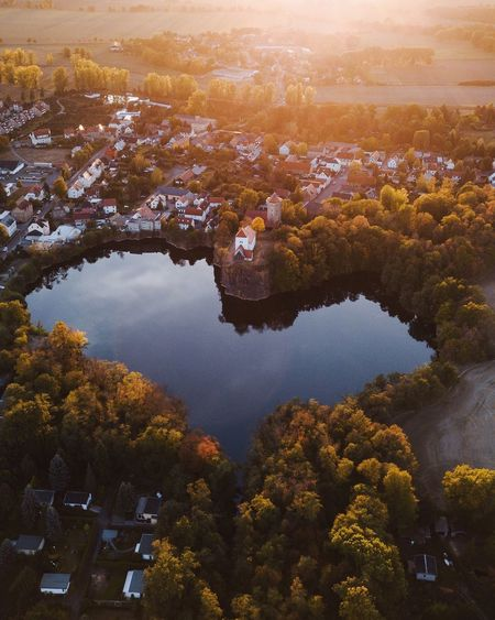 Heart of autumn Leipzig Autumn Nature Landscape Water Tree Beauty In Nature Aerial View Nature Scenics - Nature Plant Tranquility No People High Angle View Tranquil Scene Environment Sky Reflection Lake Land Landscape Outdoors Day Cityscape