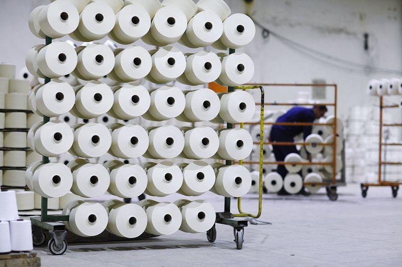 Spools On Rack In Factory