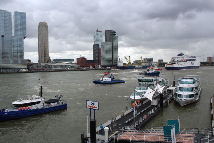 Boat City Cloud Cloud - Sky Maas Modern River Rotterdam Ship Wereldhavendagen