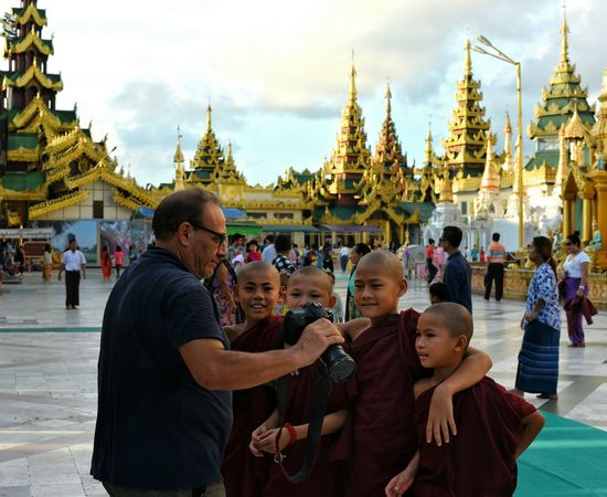 Young Novices and tourist! Novice Photography Novice Monk Buddhism Shwedagon Pagoda Portrait Snapshot Religion Cultures People Travel Destinations Travel Day