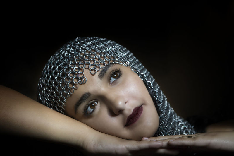 CLEOPATRA Head Gear Knight - Chess Piece Knight Outfit Knight  Low Light Photography Beautiful Woman Beautiful Girl Light Falls Portrait Portrait Of A Woman Portrait Photography Iron Headpeice Dark Age Darkages Headshot One Person Indoors  Studio Shot Looking At Camera Close-up Black Background Women Front View Human Face