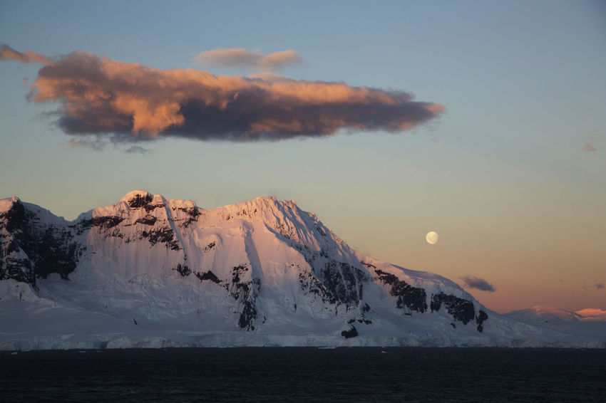Antarctica Landscape Moonset Orange Color Scenics Tranquil Scene