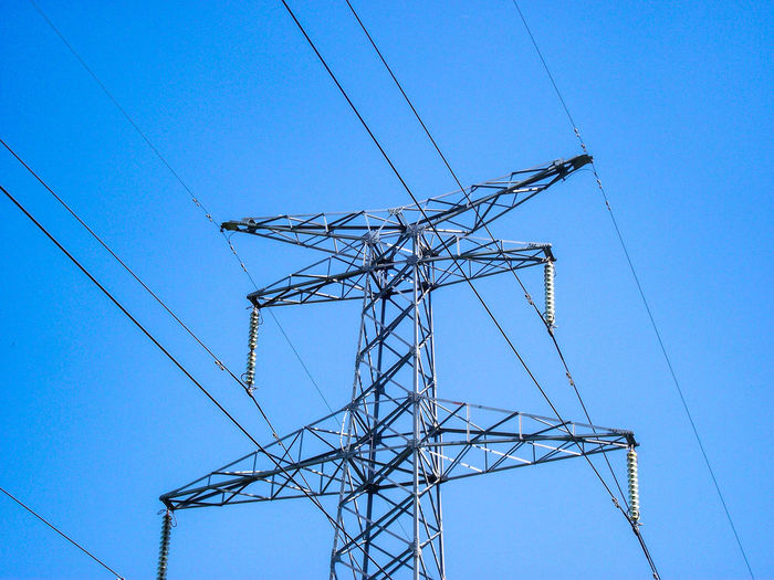 Electricity Pylon Technology Electricity  Blue Fuel And Power Generation Cable Power Supply Steel Power Line  Girder High Voltage Sign Electrical Grid Power Cable Power Station Electricity Tower Steel Cable Tall - High Iron - Metal Tower Hydroelectric Power