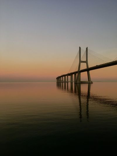 Nature Ponte Vasco Da Gama Ponte Bridge River Sky Water Tranquil Scene Tranquility Scenics - Nature Beauty In Nature Reflection Architecture Horizon Over Water Nature First Eyeem Photo