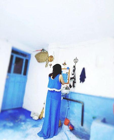 Gitting ready in blue Blue Bluehouse Bluecity Girl Bluedress EyEmNewHere Mirror Morning Morocco Moroccan Style Morocco Beauty Morningroutine EyeEmNewHere