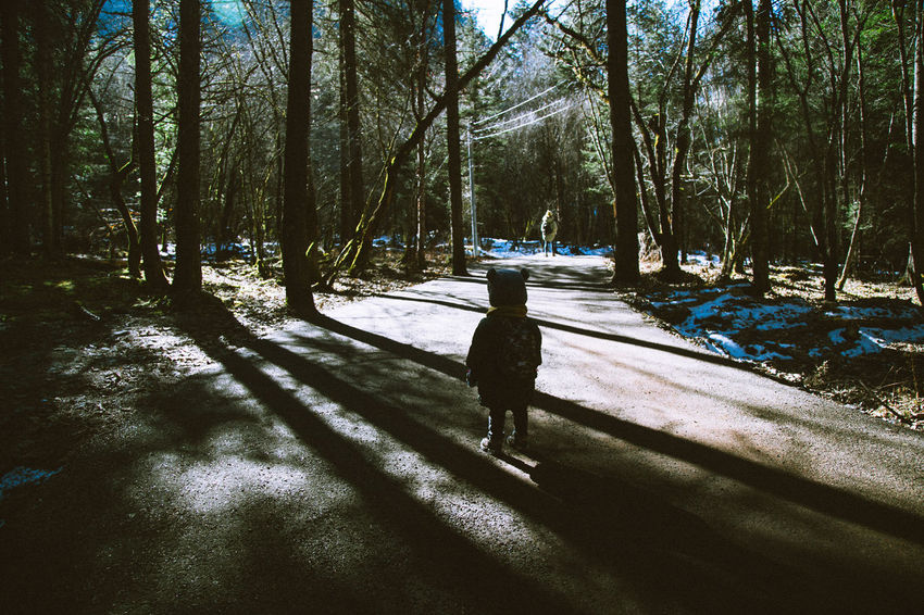Beauty In Nature Childhood Cold Temperature Day Forest Full Length Growth Landscape Nature One Person Outdoors People Real People Shadow Sky Snow Sunlight Tree Tree Trunk Winter