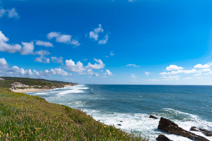 São Pedro de Moel Beach Beauty In Nature Blue Cloud - Sky Day Horizon Horizon Over Water Idyllic Land Nature No People Outdoors Plant Scenics - Nature Sea Sky Tranquil Scene Tranquility Water Wave