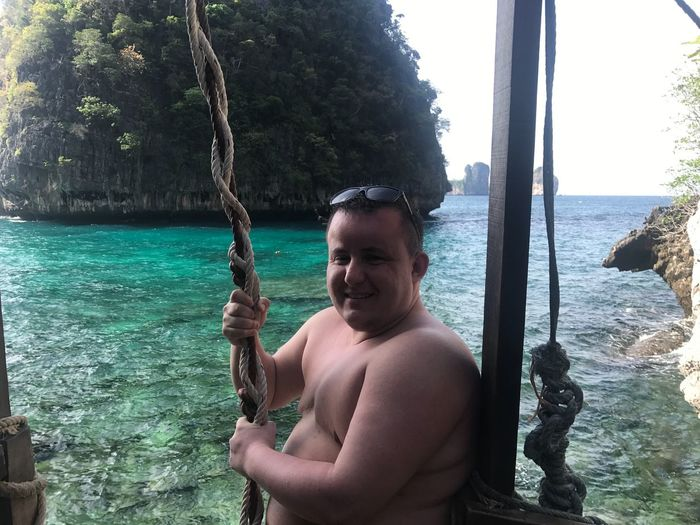 The Beach Myself Happiness Fun Fat Man Phiphidon Kohphiphi Phiphiisland Thailand Thebeach EyeEm Selects Water One Person Real People Leisure Activity Nature Day Shirtless Sea Men Portrait Males  Enjoyment Swing