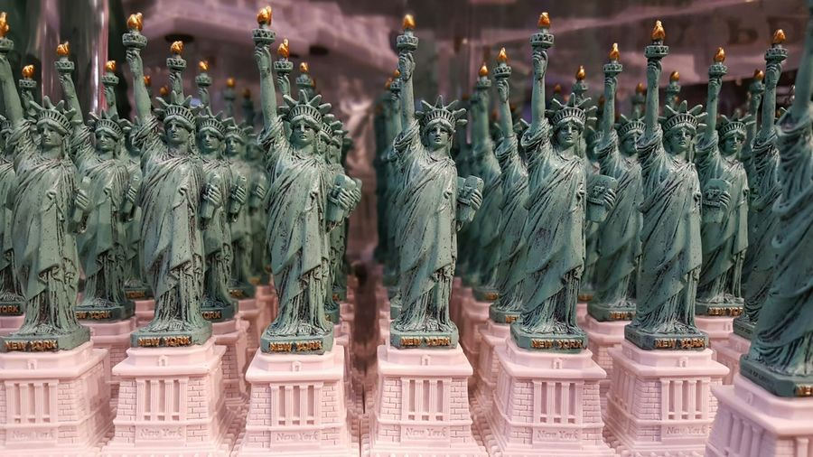 Took Liberties. Indoors  Gift Shop Close-up Mini Statuettes In A Row EyeEm Best Shots New York City Millennial Pink