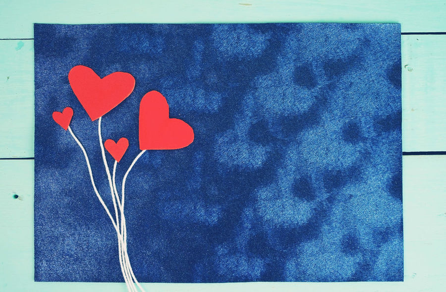 Heart Shape Love Positive Emotion Blue Emotion No People Close-up Auto Post Production Filter Indoors  Red Transfer Print Creativity Paper Directly Above Textile Still Life Valentine's Day - Holiday Wall - Building Feature Pattern Floral Pattern Love Letter Love Family Tree