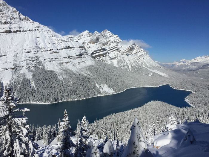 Lake Peyto Lake Canada IPhoneography Snow Winter Cold Temperature Mountain Scenics - Nature Beauty In Nature Tranquil Scene Tranquility Snowcapped Mountain Sky Mountain Range Environment Nature Landscape Day Non-urban Scene No People Sunlight Covering Outdoors