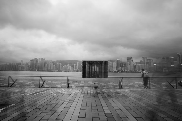 Asia, China, Hong Kong Architecture Building Exterior Built Structure City City Life Cityscape Cloud Cloud - Sky Cloudy Cobblestone Journey Leading Narrow Outdoors Overcast Sky Street The Way Forward Weather B&w Street Photography Hong Kong Landscapes With WhiteWall Here Belongs To Me