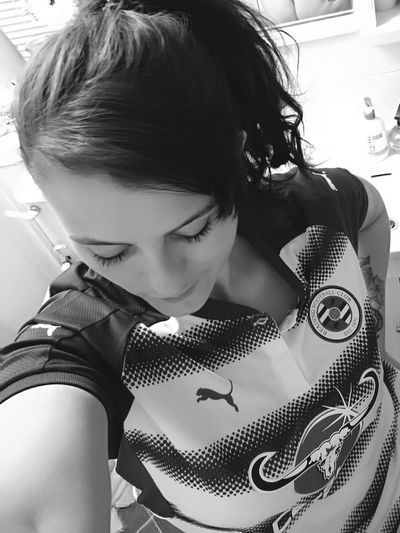 Just me... Self Portrait Adult Real People Indoors  Football Fan Football Shirt Reading FC High Angle View Blackandwhite Monochrome Photography Everyday Lives