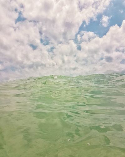 Waterproof photo Nature Tranquility Landscape Freshness No People Low Angle View Simplicity Outdoors Cloud - Sky Scenics Sea Beach Minimalism Sky And Clouds Personal Perspective Beautiful Minimal Purity Wave Sommergefühle Horizon Over WaterWater Reflection Perspective Blue Sky
