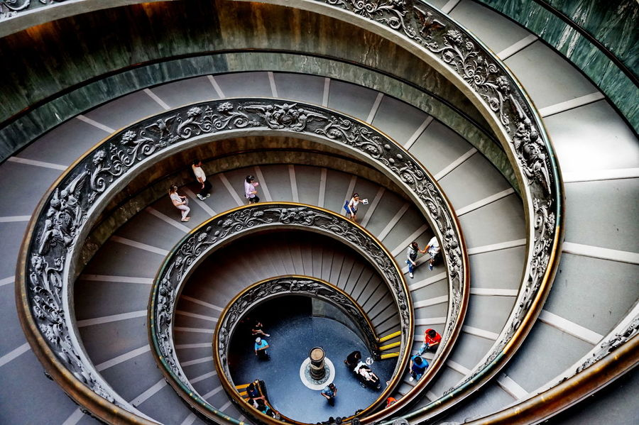NEX-5T Vatican Architecture Built Structure Day Hand Rail High Angle View Indoors  No People Railing Sony Spiral Spiral Stairs Staircase Stairs Steps Steps And Staircases