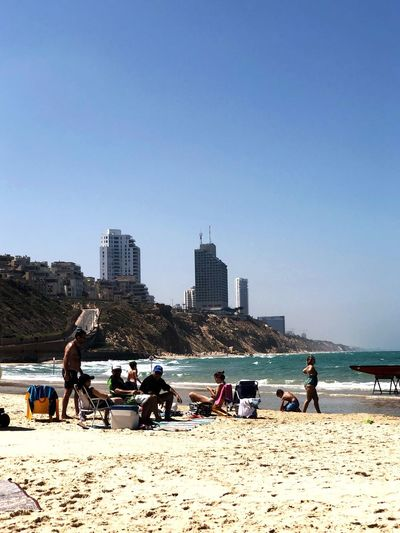 Sironit Beach on Saturday Israel Netanya Beach Water Sky Sea Real People First Eyeem Photo