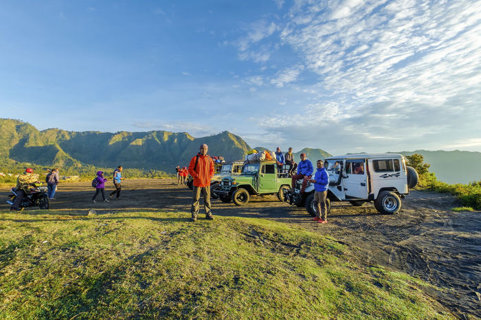 Bromo Tengger , Malang Indonesia 1 Nov 2017 : Wonderful view a group of hiker with land cruiser Fj40 from of top hill in Bromo Tengger mountain during sunrise / early morning. FJ40 INDONESIA Landcruiser  Legendary Mountain View Wonderful Amazing Backgrounds Bj40 Bromo Day Early Morning Land Vehicle Landscape Malang, Indonesia Mountain Nature Old, Retro, Vintage, Bicycle, Street, Bike, Transport, City, Urban, Background, White, Style, Travel, Wall, Classic, Bycicle, Cycle, Photography, Lifestyle, Art, Black, Day, Summer, Color, Cycling, Hipster, Sport, Road, Design, Rusty, Aged, Antique, Outdo Outdoors Sky Sunrise Toyota Transportation Volcano Xtreme